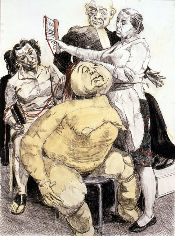 """"""" Paula Rego, Preparing the Blind Sister, 2007 Acrylic and contel pencil on paper 54 x 40 1/8 inches """""""