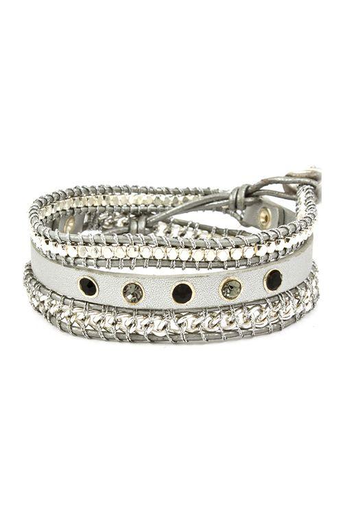 Mina Bracelet in Silver on Silver