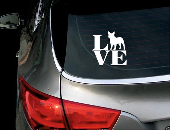 Love French Bulldog Car Decal Sticker