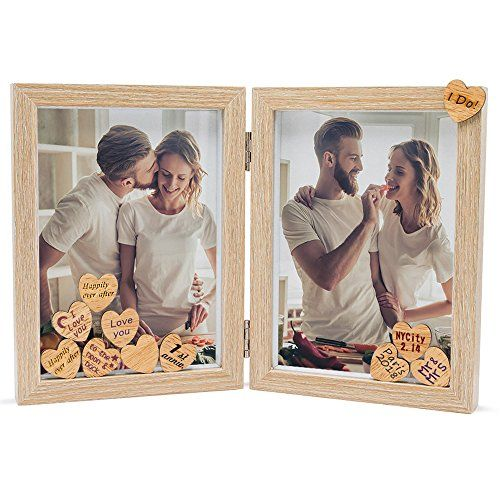 Sumgar Love Picture Frame For Couples 5x7 Rustic Double Hinged