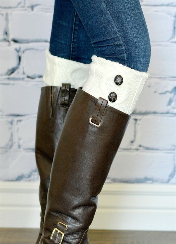 It's boot weather ladies!  What better way to top them off than with our knit button boot cuffs! Add a pop of color and style to your look without all the bulk down your boot.These also look adorable used as wrist warmers. Have a little peek out of the bottom of your sleeve for extra warmth and style.    These make the perfect gift! Be sure to grab a couple extra at this amazing price and have a stress free holiday season!~COLORS~Ivory Gray Charcoal&nb...