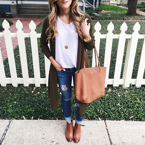 @brightonkeller // BrightonTheDay Blog // Olive colored waterfall cardigan on sale! // white t-shirt outfit // fall outfit // distressed jeans outfit for fall // brown booties // click to Shop http://liketk.it/1WsZC #liketkit