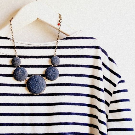 striped shirt & denim necklace