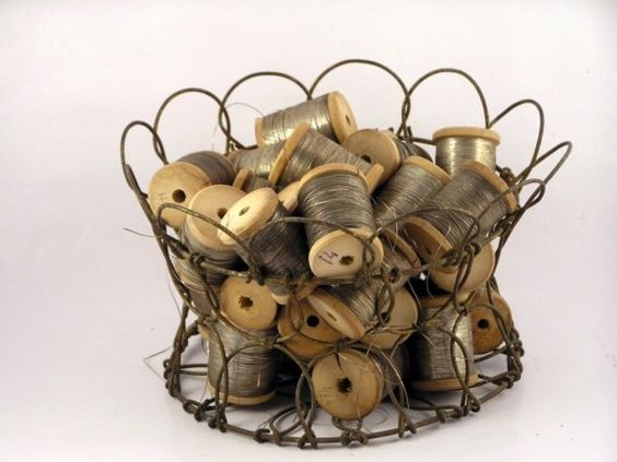 wire basket and spools                  ****
