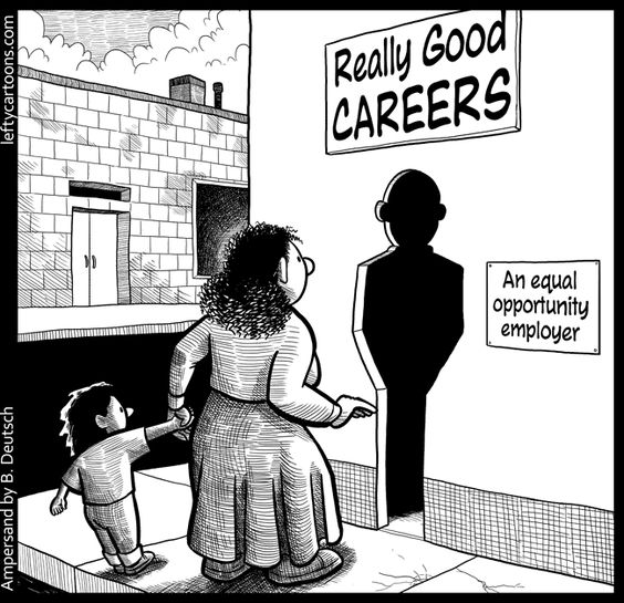 """Women's Rights Movement: This political cartoon shows that finding a career with an """"equal opportunity employer"""" is still difficult for women. Retrieved January 19, 2013, from http://leftycartoons.com/wp-content/uploads/2012/04/really_good_careers.png"""