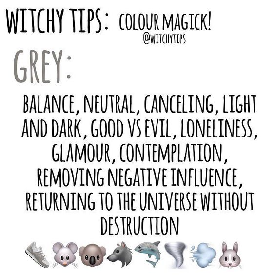 "Tips for Witches Everywhere! ✨ on Instagram: ""🐀 GREY 🐀 Use colour magick to help you pick candle colours, altar decor, clothing choices and more for spells and rituals to give it an…"""