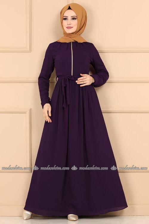 Modaselvim Elbise Fermuar Detay Kemerli Elbise 5009ef311 Mor Elbise Islami Giyim Elbise Modelleri