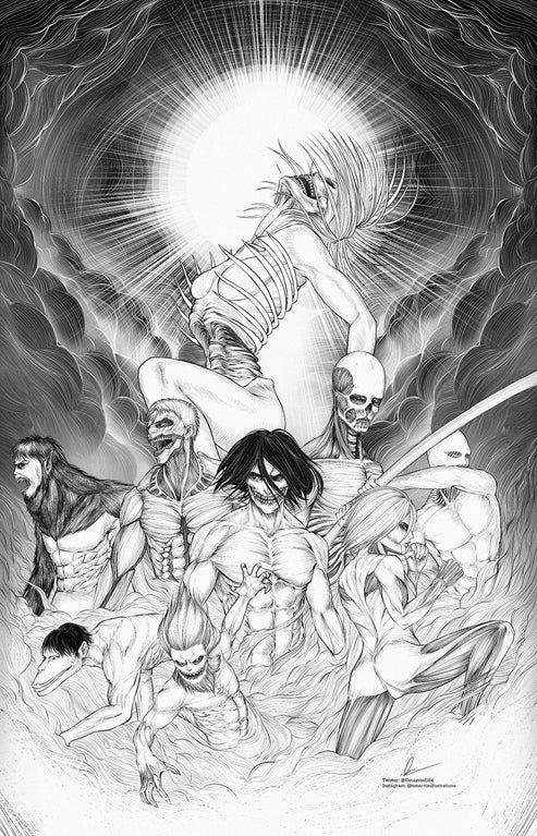 Nine Titans Shingekinokyojin In 2020 Attack On Titan Anime Attack On Titan Art Attack On Titan Fanart