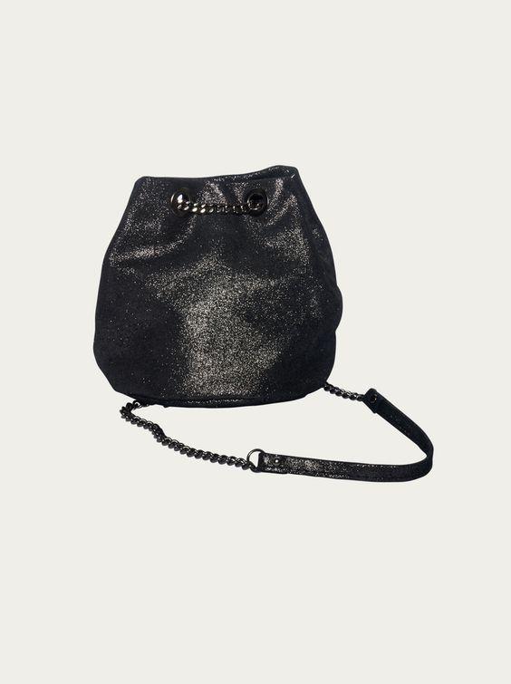 Damen Handtasche BLINGBERLIN - Kettenbeutel Amel in schwarz-metallic