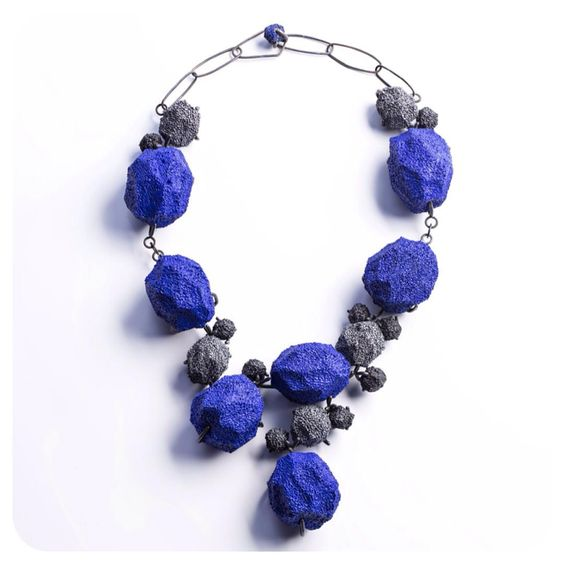 Burcu Sulek 2015 emptiness  collection silver necklace sponge kobalt blue