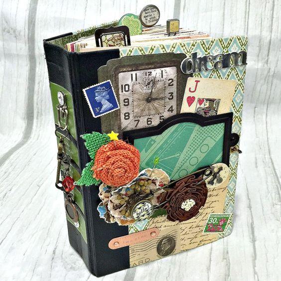 ALTERED HARDBACK BOOK Planner Organizer Junk Journal Mini Album