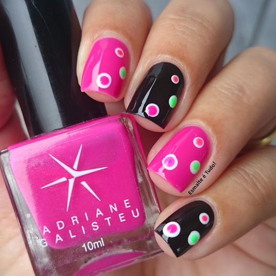 Easy Nail Art, Pink Black And Accent Nails On Pinterest