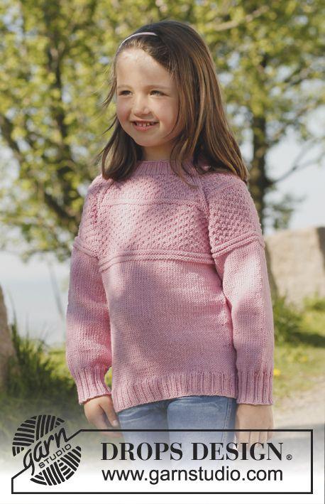 """Pulôver raglan DROPS, tricotado de cima para baixo em """"Merino Extra Fine"""". Dos 3 aos 12 anos. ~ DROPS Design"""