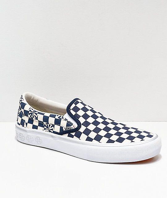 Vans X Independent Slip On Pro Blue White Checkerboard Skate Shoes Skate Shoes Slip On Cute Vans