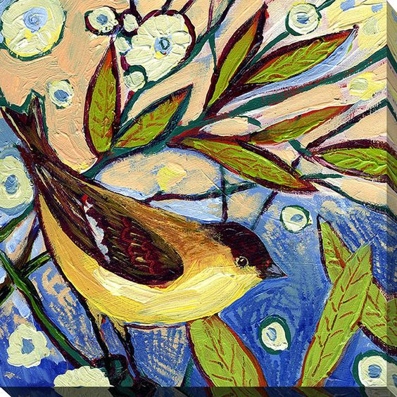 Bird XI by Jennifer Lommers Painting Print on Wrapped Canvas
