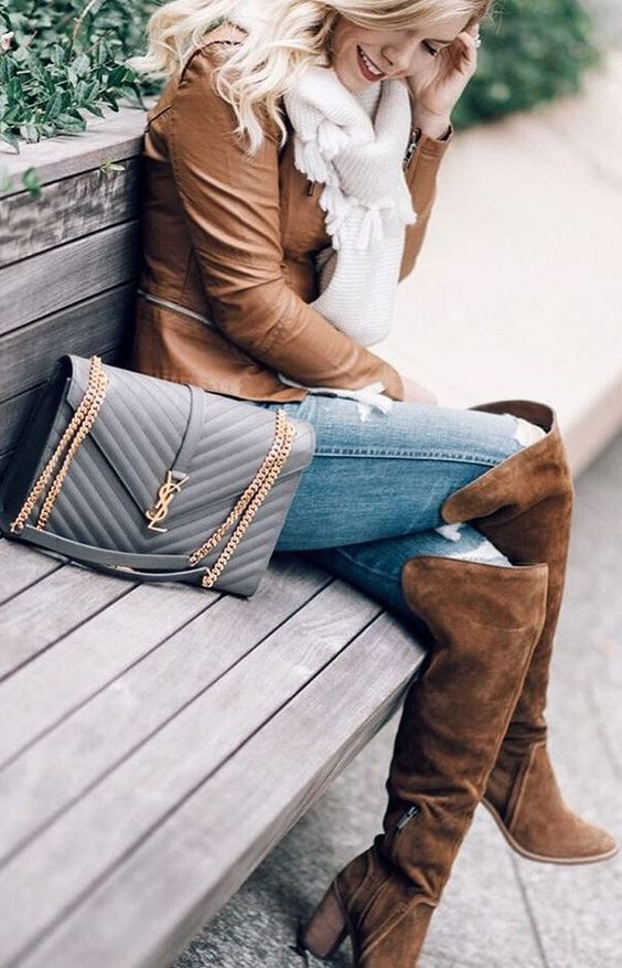 #cute #outfits Camel Leather Jacket // Light Scarf // Skinny Jeans // Camel Suede Over The Knee Boots
