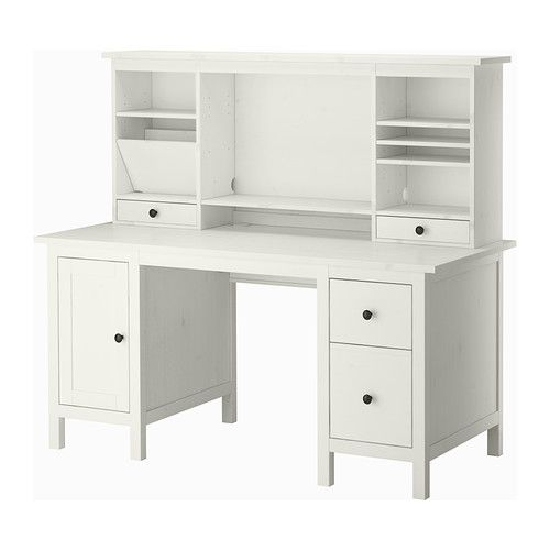 hemnes bureau avec l ment compl mentaire teint blanc c ble taches et rallonges. Black Bedroom Furniture Sets. Home Design Ideas