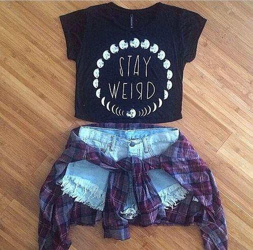 Grunge. Stay Weird. Black Crop Top. Blue Jean Shorts. Moon. Cute. Purple Plaid Button Up. Flannel.