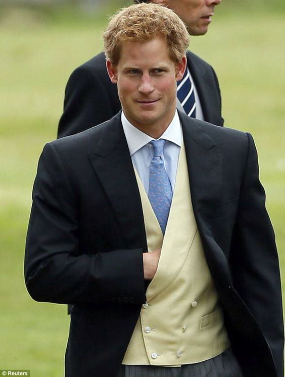 Prince Harry at wedding of James Meade and Lady Laura Marsham    Prince William was an usher at the wedding of his close friends.