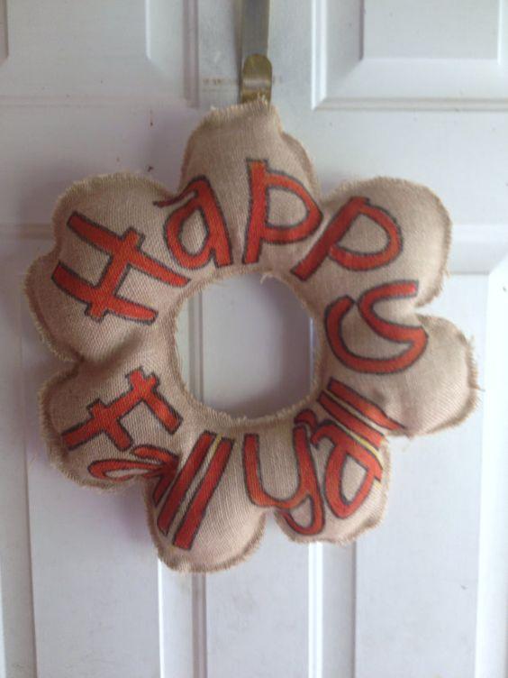 Burlap Fall Wreath on Etsy, $12.00