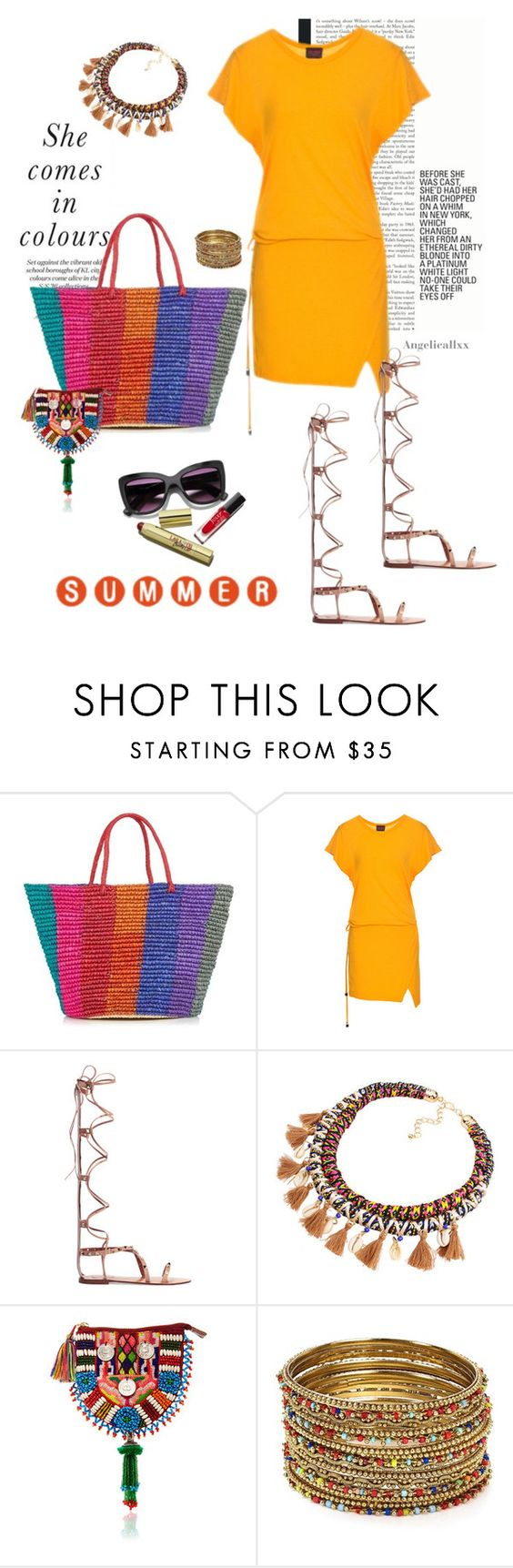 """She comes in colours"" by angelicallxx ❤ liked on Polyvore featuring Sensi Studio, Valentino, Figue, Aqua and strawbags"
