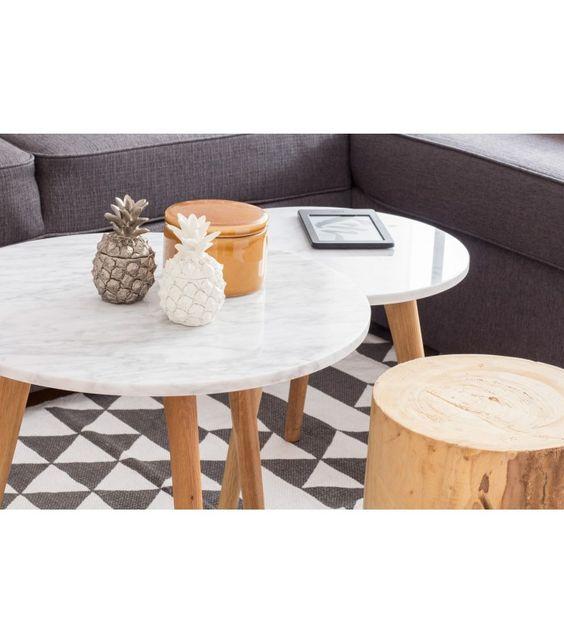 Mesa redonda baja de café MARBLE de madera y mármol blanco Macael ...