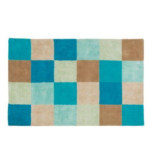 Ce tapis damier bleu en coton tr s gai et tonique r chauffe l 39 ambiance - Tapis enfant grande taille ...