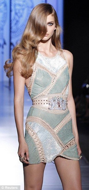 Short and chic: As well as floaty evening gowns, the collection also included bodycon mini dresses
