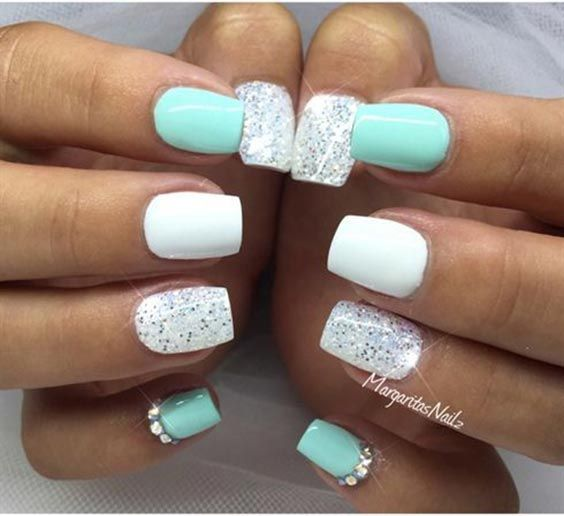 Mint green nail designs graham reid 35 easy glitter nail art ideas you will love to try white glitter nails prinsesfo Images
