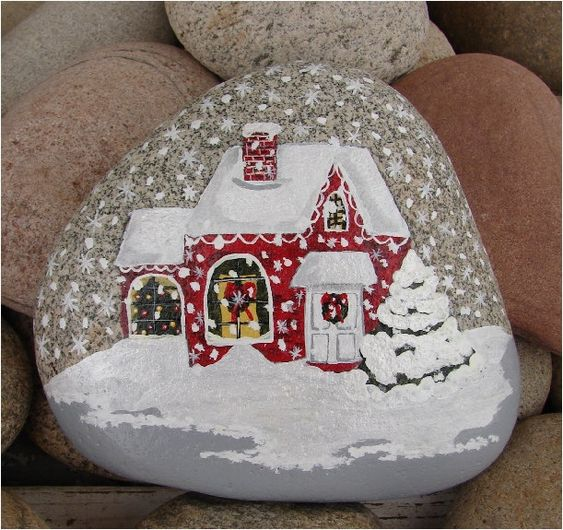 Christmas House hand-painted river rock Christmas gift by RocksOK: