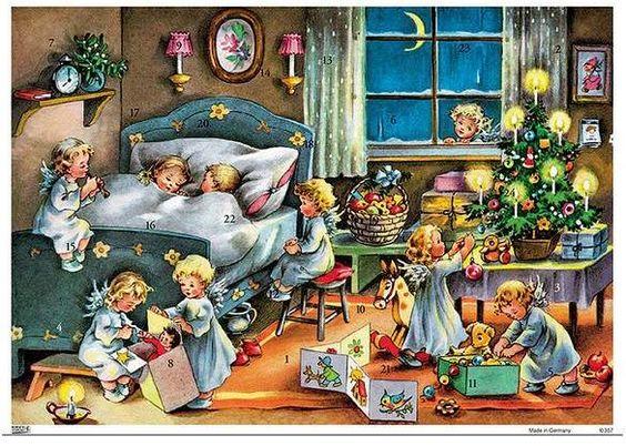 Alexander Taron Korsch Advent Calendar Children in Bed w/ Angels 8 x11