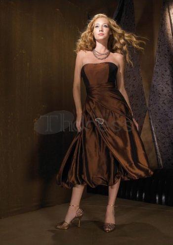 Abiti da damigella-marrone abiti da damigella senza spalline
