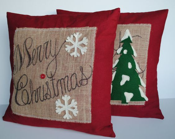 Two u0027Merry Christmasu0027 tree Pillow covers, 20x20, holiday pillow, decorative  pillow