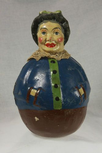 Vintage German Paper Mache Halloween Witch Roly Poly ca.1920