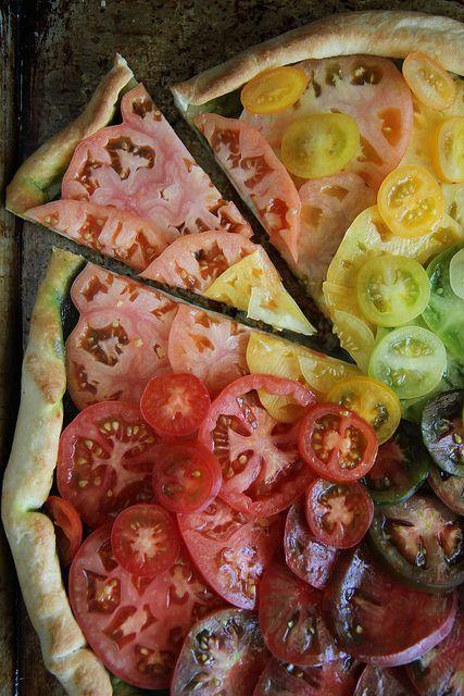 Rainbow Heirloom Tomato Pizza by @Heather Creswell Christo