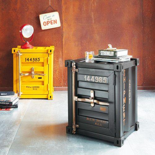 Bout de canap container en m tal noir l 46 cm kids for Container maison du monde
