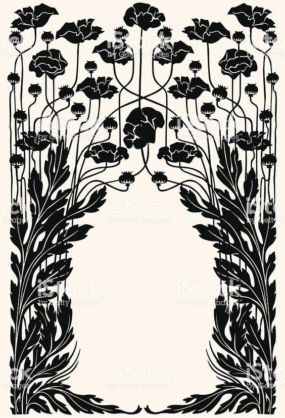 Art nouveau garden border royalty-free art nouveau garden border stock vector art & more images of art deco