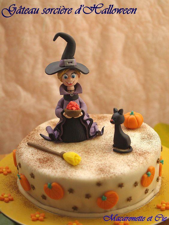 G teau sorci re d 39 halloween et tutorials macaronette et cie ange 39 s cake creations - Deco gateau halloween ...