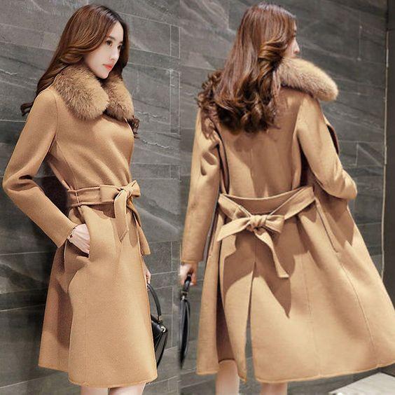 Women Wool Blend Real Fur Poncho Warm Coat Jacket Windbreaker Slim Belt Outware