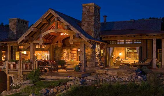 Log homes covered porches and logs on pinterest for One story log homes