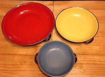 Set 3 Colorful Vintage Enamelware Nesting Sauté Pans Yugoslavia