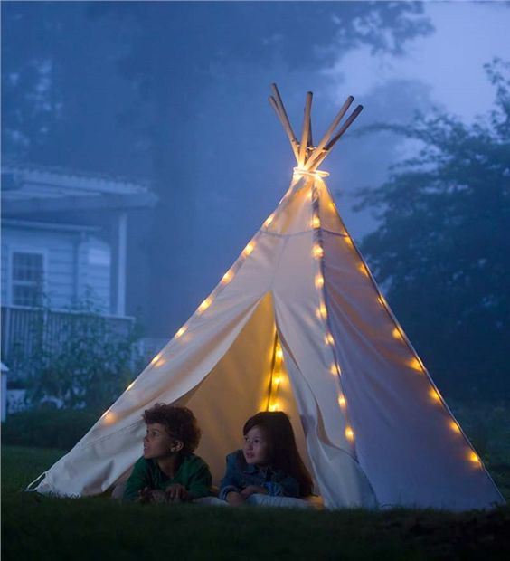 Main image for 7%27 Cotton Canvas Teepee with Wooden Poles: