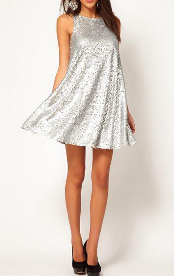 [US$38.99] - Brand Silver Sequins Wrap Sleeveless Dress : ThatsPoint.com