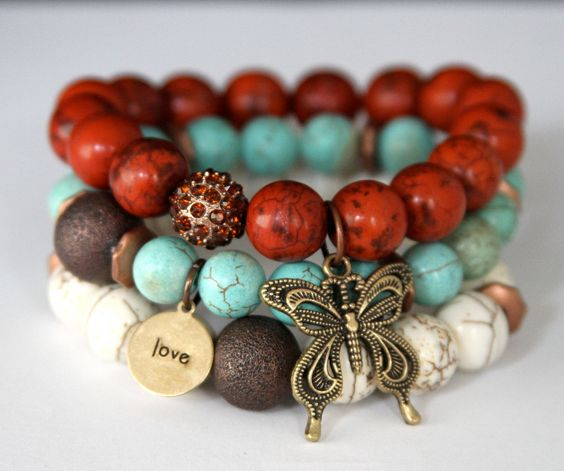 Boho Chic Butterfly and Love Charm Stretch by JewelitCouture, $88.00
