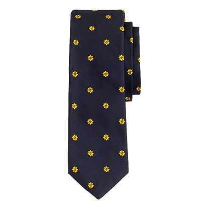 J.Crew - English silk tie in embroidered DAISIES