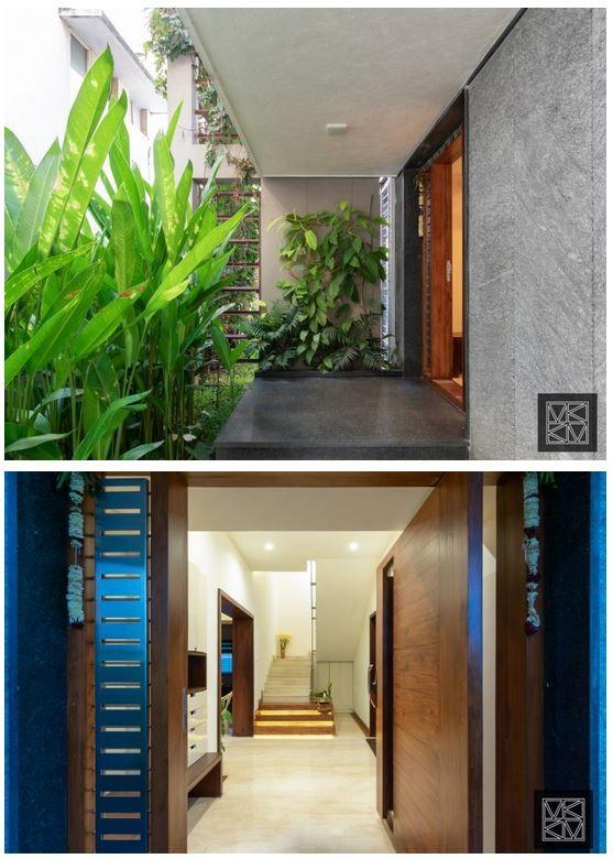 Reconstructing An Ancestral Home To Modern Minimal Aesthetics K M Design Studio The Architects Diary In 2020 Entrance Door Design Door Design Modern Minimal