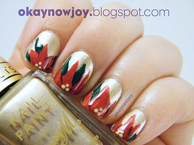 Poinsettia nails for the holidays