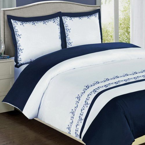 Blue and white egyptian cotton and blue and on pinterest for Luxury hotel collection 800 tc egyptian cotton duvet cover set