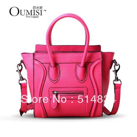 2013 neon cor marca couro genuíno sorriso sacola para as mulheres, designer de couro smiley messenger bag