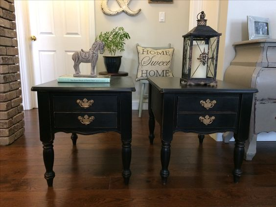 vintage side tables /General Finishes Lamp Black ❤️️ ~ Beautifully Brocante by Lori~